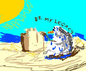 Snowmen build a sand castle