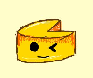 A ball of mozzarella cheese winks
