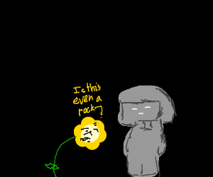 Flowey finds a rock that resembles Frisk