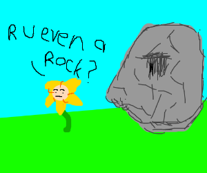 Yellow flower asks if statue is even a rock