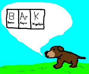 "Sciencey dog goes ""B(oron)Ar(gon)K(Potassium)"""