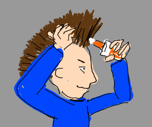 Putting glue on his own hair
