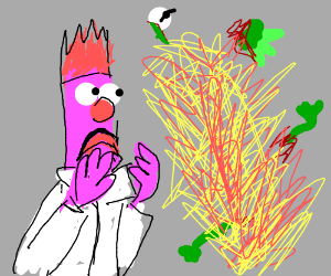 Beaker blows Kermit up