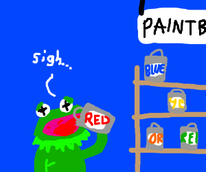 Kermit chugs red paint