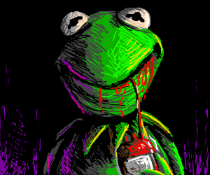 Kermit drinking blood