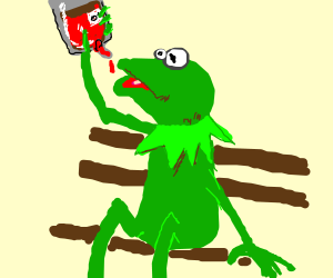 Kermit drinking directly from a blood pack.
