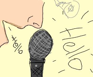 Microphone amplifies spoken words