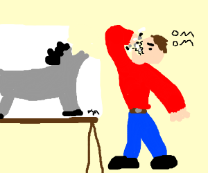 Guys eats head of horse drawing