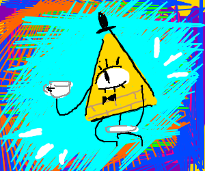 Bill cipher drinkin tea in colorful dimension