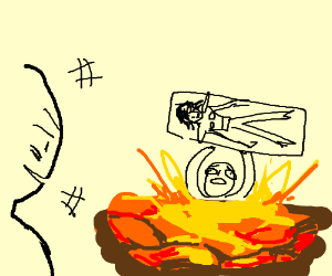 An angry man burning Undertale fan in lava