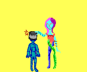 Rainbow puts bucket on angry robot's head