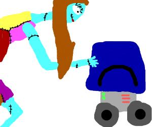 Sally (nightmare/xmas) puts a bucket on Robot