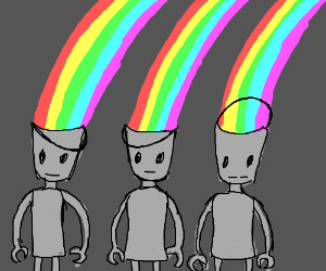 a bunch of metal bucket heads puking rainbows