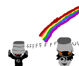 The end of the rainbow has bucket heads