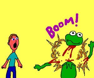 Pink guy watches in horror as Kermit explodes