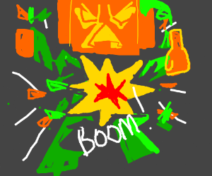 A exploding Pumpkin head flipping you off.
