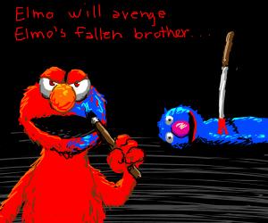 blue paint + Elmo = Grover. Vengeance shall be