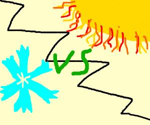 the sun vs snow flake FIGHT