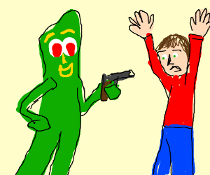 Gumby holds a man at gunpoint
