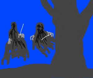 2 dementors by a huge tree at twighlight