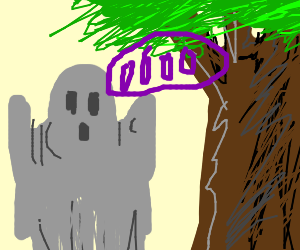 grey ghost haunting a tree
