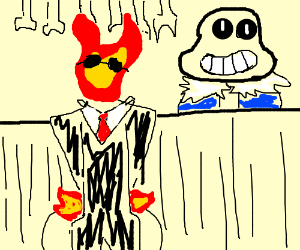 Grillby eat at Sans'