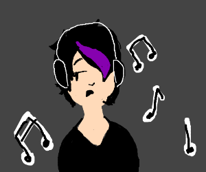 emo girl with headphones listening to music