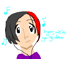 Emo chick listening to music probably fob