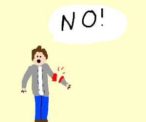 """man loses arm and yells """"NO!"""""""