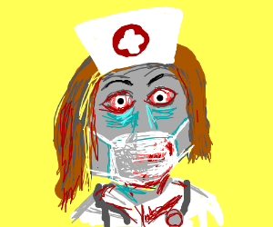 Zombie nurse wearing black glove