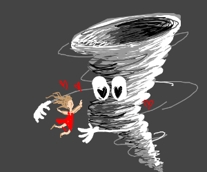 Woman and Tornado in torrid love affair.