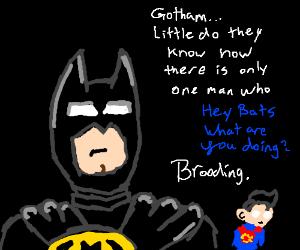 Superman interrupts Batman's brooding