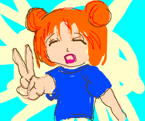 A Crying Anime Girl Holding Up A Peace Sign Drawing By Surcettin