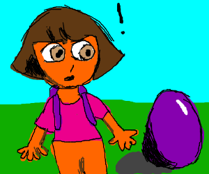 dora the explorer finds a giant purple egg
