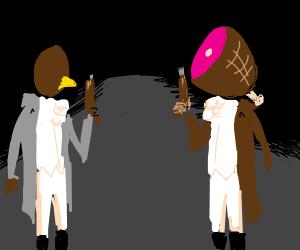 Ham vs bird duel