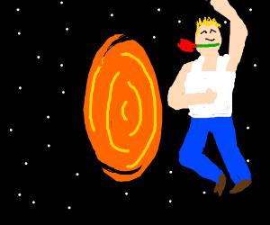 Man dances around a portal in space