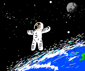 Happy Astronaut Floating In Space Drawception