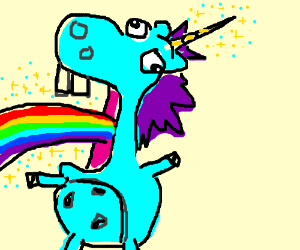 unicorn throwing up rainbows drawception