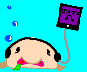 a disgusting fish listning to jazz