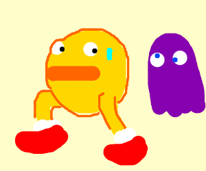 Scared 3D Pac man running from purple ghost