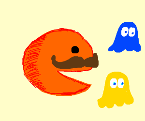 Mustached orange Pac-Man?