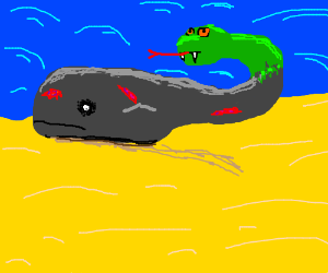 Bloody whale with a black eye and snake tail