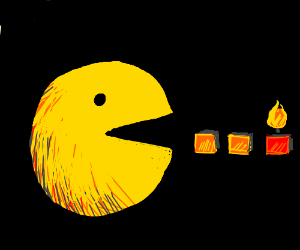 Pacman eating a candle that's on fire