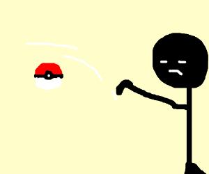 Someone throwing a Pokeball