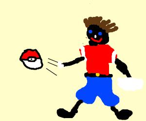 black guy throwing a pokeball