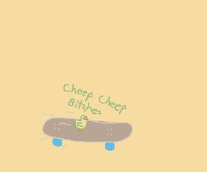 A chick riding a skateboard