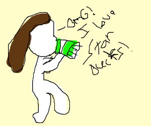 A Whit Girl Drinking Starbucks Drawception
