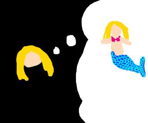 Girl dreams she is a mermaid