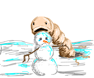 Snowman is being eaten by worms