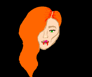 Girl with orange hair licks her bloody lips